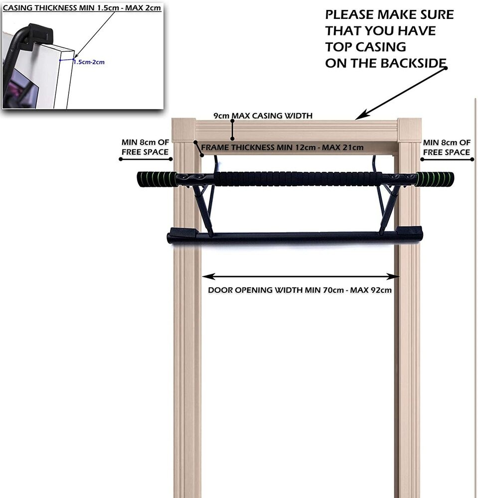 Holds Up to 440 Lbs LaForie Pull Up Bar for Doorway Portable Home Gym Exercise Equipment for Doors Adjustable Stainless Steel Fitness and Workout Tool 28.3-38 in Auto Lock and Non-Slip Gloves